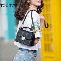 toutou2017夏季韩版新款包包女复古百搭锁扣小方包手提单肩斜挎包
