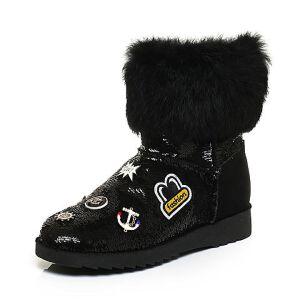 Teenmix/天美意冬专柜同款黑色亮片布/牛二层皮/兔毛皮女靴(毛里)6R261DZ6