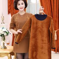 中老年女秋冬装加绒加厚针织连衣裙打底衫40岁50妈妈装中长款毛衣