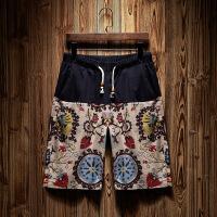 男士短裤夏季休闲亚麻裤子日系大码学生宽松潮流夏天五分裤沙滩裤