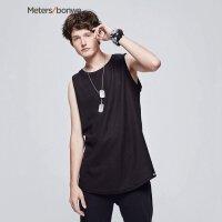 【618返场购,每满200减100】美特斯邦威(Metersbone)无袖T恤男2017夏装新款条纹针织背心20907