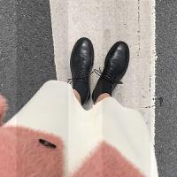 英��2018秋冬新款�涡�女ins�L黑色真皮低跟�凸畔�Ъ咏q小皮鞋女SN0679