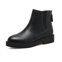 冬季新款切尔西靴英伦风及裸靴平跟女靴子马丁靴厚底短靴真皮 黑色