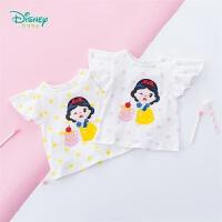 【99元3件】迪士尼Disney童装 女童荷叶袖上衣夏季新品可爱公主印花短袖纯棉t恤