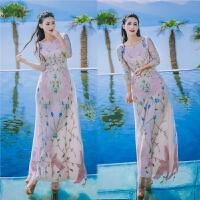 泰国潮牌飞鸟刺绣长裙连衣裙年夏度假修身鱼尾裙 米白色