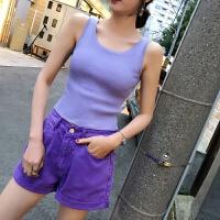 2018夏装新款女士上衣 韩版百搭修身休闲紫色针织背心女夏外穿 紫色 均码
