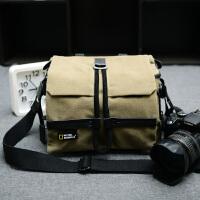 单反摄影包单肩单反照相机包佳能尼康帆布户外背包防水相机包