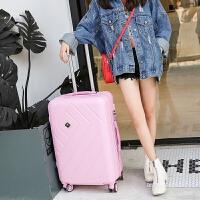 韩版旅行箱万向轮可爱女子母拉杆箱20寸学生行李箱小清新24寸皮箱 粉红色 送(箱套+贴纸)