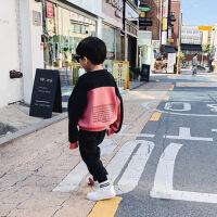 №【2019新款】冬天儿童穿的童装男童新款韩版拼接长袖卫衣冬装上衣中大儿童加绒打底衫