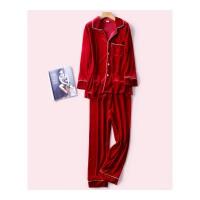 新婚结婚本命年睡衣情侣套装秋冬季红色三件套性感新娘晨袍家居服