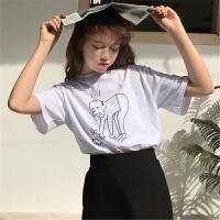 短袖t恤女�W生�n版bf��松2018流行女�b新款�赓|女神范上衣打底衫
