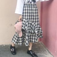 裙子女装2018新款春装新款松紧腰荷叶边格子半身裙高腰显瘦长裙潮