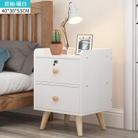 家居生活用品收纳边柜小型组装创意带锁储物柜床头柜宿舍卧室简易柜 组装 M2 暖白双抽 40*30*53