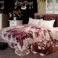 拉舍尔婚庆毛毯结婚加厚单人双人珊瑚绒毯子冬季被子学生宿舍盖毯 双层加厚200x230cm 10斤