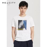 【1件3折到手价:73.8】MECITY男装夏季新款时尚圆领印花情侣款短袖男士白色T恤男