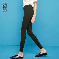 【开学季,折扣价:25.2元】初语夏季新款 弹性打底裤女显高显瘦局部印花中腰小脚裤外穿