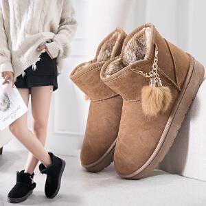 女式 雪地靴女厚底加绒2018冬流苏保暖棉鞋学生雪地靴