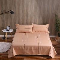 纯棉三件套四季毯空调席条纹加厚格子床单透气
