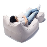 创意韩式个性懒人沙发豆袋单人可拆洗卧室阳台书房休闲可爱沙发 银灰色 沙发+脚踏