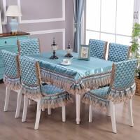 桌布椅套 现代简约蕾丝布艺家用加厚餐桌布椅套椅垫套装靠背椅套罩欧式餐椅套坐垫茶几布椅子套装定制!