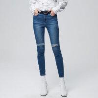 【1件3折到手价:55.5】美特斯邦威牛仔长裤女新款潮流时尚修身小脚裤秋季上新