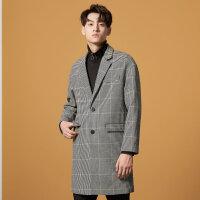 【2件2.5到手价:165】美特斯邦威大衣男冬季新款男士休闲潮流韩版西装领格子大衣男