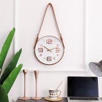 物有物语 挂钟 北欧创意皮带装饰挂钟客厅现代简约静音石英钟金属壁挂家居装饰