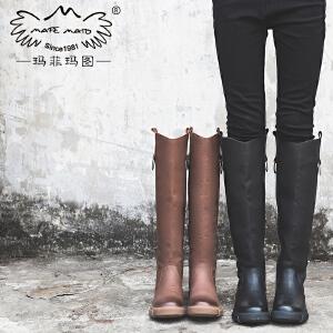 玛菲玛图大码保暖靴子女冬2017新款真皮长筒靴女圆头侧拉链马丁靴530-20