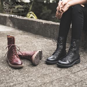 玛菲玛图马丁靴女秋新款羊皮短靴中跟平底单靴街头风帅气系带机车靴女5751-18