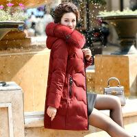 中老年羽绒服女中长款加厚大码中年女妈妈冬装狐狸毛领外套40岁50