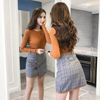 秋冬季针织衫包臀半身裙套装2017新款chic小香风毛衣两件套连衣裙