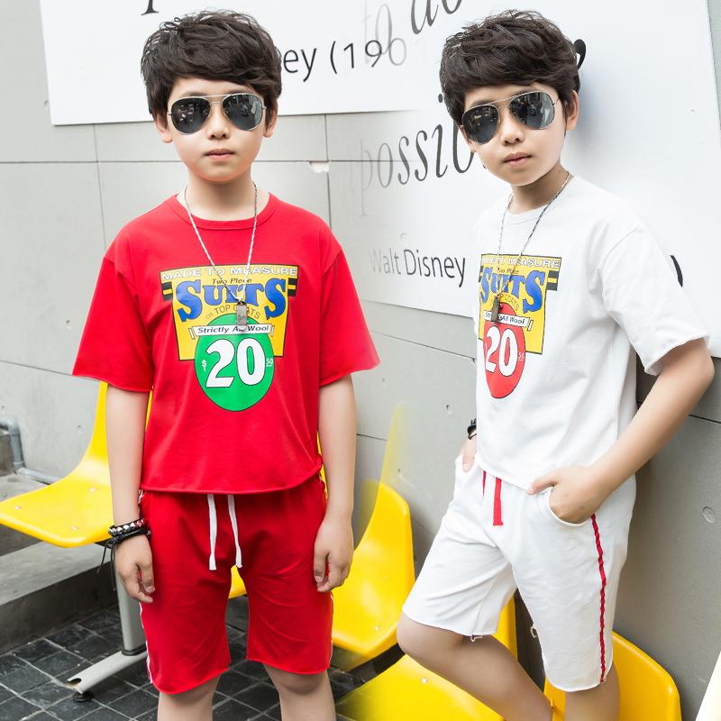 新款套装中大童夏季童装男孩短袖运动两件套