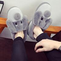 男士棉拖鞋冬季厚底室内保暖防滑家居家用拖鞋男冬狗狗女冬天包跟