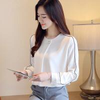 白色雪纺衬衫上衣女2018秋装新款韩版宽松长袖气质心机设计感衬衣