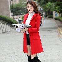 外套女中长款韩版2018新款秋冬矮个子呢子大衣学生冬季厚