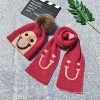 儿童帽子围巾两件套装冬季韩版男童女宝宝套件加绒毛线套头帽潮 均码