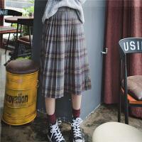 秋冬裙子新款复古风高腰格子毛呢半身裙女装中长款显瘦百褶裙学生
