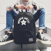 新款双肩包男时尚潮流韩版背包学院风初中学生书包旅行电脑包 黑色z54