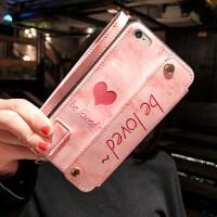 爱心苹果6s手机壳6splus多功苹果xs钱包6plus苹果x全包防摔iPhone7女款7plus个 i6 粉爱心钱包