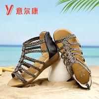 【限时价99】意尔康女鞋夏季波西米亚坡跟凉鞋