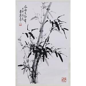 当代著名写意画家、书法家   董寿平《风雨见劲节》