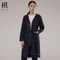 【全场2件2.5折,到手价:147.3】CHIN祺女2019夏季装牛仔风衣显瘦中长款女上衣口袋收腰大衣外套