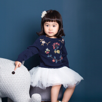 2018韩版童装秋冬季女童圆领套头花卉刺绣毛衣儿童秋装针织衫