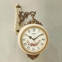 两面时钟中号静音客厅欧式双面挂钟创意中式复古石英钟表 20英寸