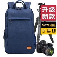 单反双肩摄影包相机包for800D750D70D80D200D5D4背包男女6D2 藏蓝色 大号 升级版