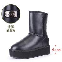 防水雪地靴女厚底内增高松糕底平底中筒靴皮面真皮高筒防滑加厚冬SN2975 黑色 跟高5CM