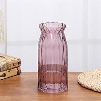 欧式浮雕鲜花玻璃花瓶透明家用客厅百合玫瑰插花瓶工艺品餐桌摆件