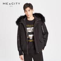 【1件2折到手价:359.8】MECITY男装2018冬季新款夹克式短款毛领运动风羽绒服