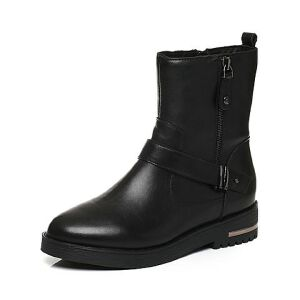 Belle/百丽冬季专柜同款黑牛皮革女皮靴(绒里)BIS62DZ6