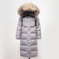 反季韩版真毛领羽绒服女中长款过膝长款2018新款加厚大码冬装外套